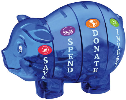 Savings Pigs are available in multiple colors while supplies last!