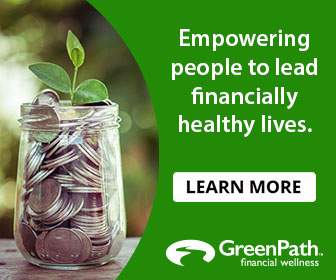 Click on this picture of coins and a green plan - Green Path helps empower financially.