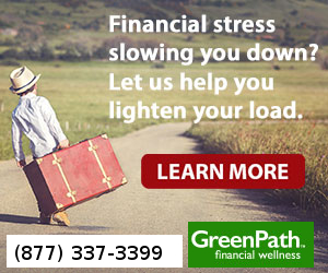 Click here to find out about Green Path! Picture is little boy with suitcase - heavy load.
