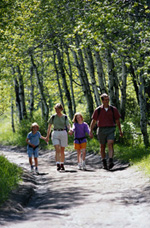 image of a family walking together down a path
