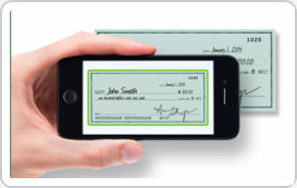 Picture of a Smartphone taking a picture of the front of a check for Mobile Deposit example.